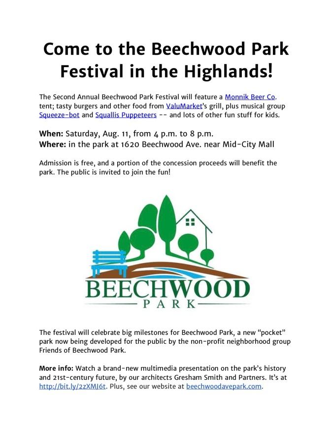 August 2018 Beechwood Park Festival poster