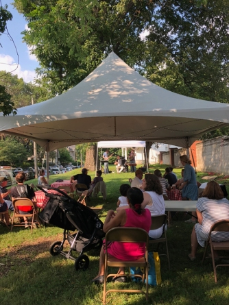Festival goers enjoyed beer, brats and burgers while listening to Squeeze-bot.